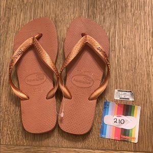 Havaianas, 37-38, copper, wide strap, new